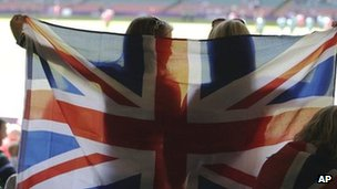 Two Team GB supporters fly the flag at the Millennium Stadium in Cardiff