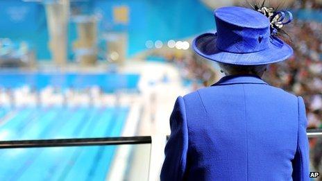 The Queen at the Aquatics Centre