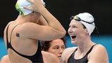 Australia celebrate winning the 4x100m relay