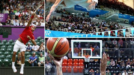 Clockwise from left: Roger Federer at Wimbledon, Michael Phelps at the Aquatic Centre, and the Olympic Park Basketball Arena