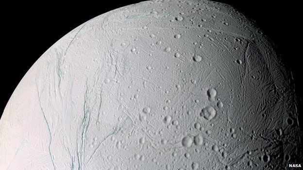 Enceladus is one of Saturn's moons.
