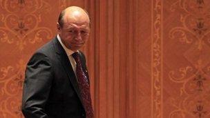 Romanian President Traian Basescu. 6 July 2012