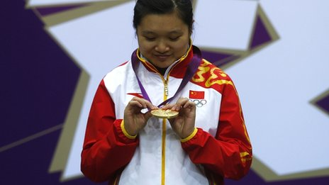 Guo Wenjun with a London 2012 gold medal