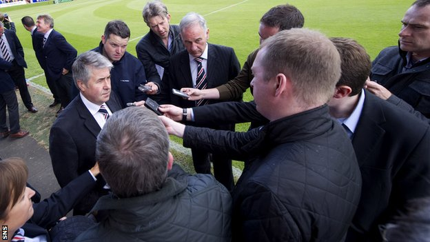 Green talks to the media at Glebe Park, Brechin
