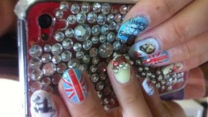 Sachie Murata's nails in homage to the UK