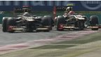 Raikkonen and Grosjean do battle