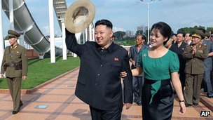 Kim Jong-un with his wife, Ri Sol Ju, in Pyongyang. 25 July 2012