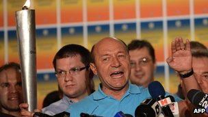 Romanian President Traian Basescu addresses reporters after the referendum. 29 July 2012