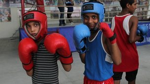 Boys practicing boxing in Bhiwani, Haryana, India.