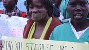 File picture of women demonstrating in Windhoek, Namibia, in support of three women who claim they were sterilised without their informed consent