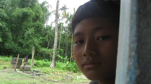 12-year-old Royat Narzary, a Bodo boy in a relief camp in Assam