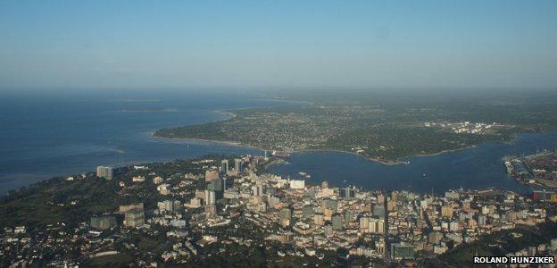 Aerial image of Dar es Salaam, June 2010