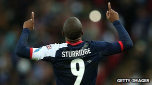 Daniel Sturridge of Great Britain celebrates scoring a goal during the Men's Football