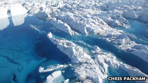 Blue lake in Store Glacier, Greenland
