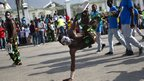 Man dancing in the streets of Port-au-Prince