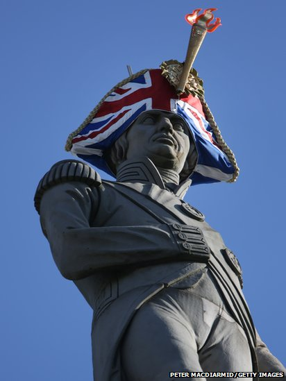 Lord Nelson's statue wears a new hat