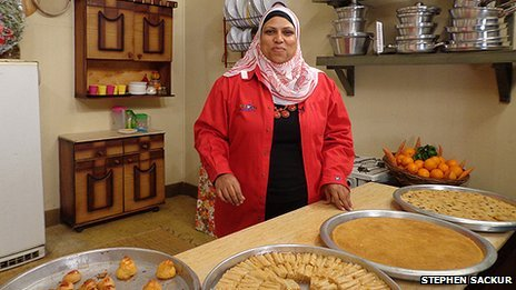 Ghalia Mahmoud in her kitchen