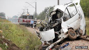 Shot of the minibus wreck