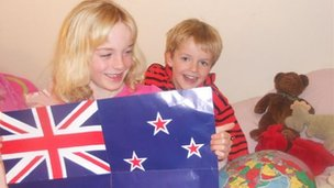 Amelia (left) and Alexander Lautour (right) - aged seven and five in Tuakau, New Zealand