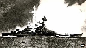 German battleship Bismarck under attack