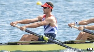 Tom James during Monday's coxless four heat