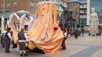 Godiva puppet and a silk dress
