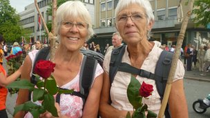 Inga Juul, 67, and Inger Nore Rauan, 67, carried traditional wooden sticks and celebratory roses