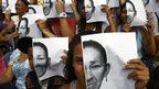 A group of women take part in a demonstration to protest against insecurity in the city of Caracas