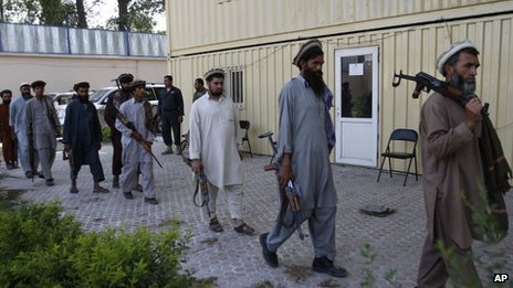 Former Taliban militants who are now part of the Afghan government's peace reconciliation programme, 18 July