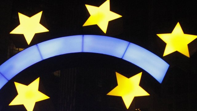 Euro currency sign is seen in front of the ECB headquarters in Frankfurt