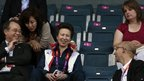 Princess Anne watches badminton at the Olympics
