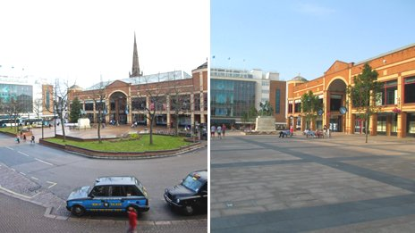 Broadgate before and after pedestrianisation