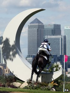 Great Britain's Nicola Wilson riding Opposition Buzz jumps The Moon fence on the cross country course during eventing at Greenwich Park.