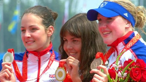 Keri-Anne Payne with the other medal winners in the women's open water 10km race in the 2008 Olympics