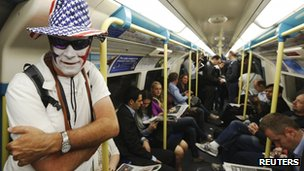 An American fan on the London Tube on the third day of the Olympics