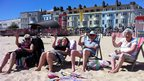 Susan Thomas, Rachael Norton, John Norton and Ann Norton on Weymouth beach.
