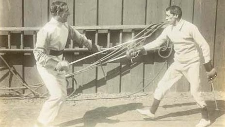 8th Baron Howard de Walden fencing (left)