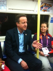 Prime Minister David Cameron on the Tube