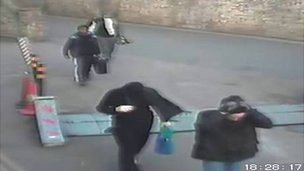 The offenders caught on CCTV at the site