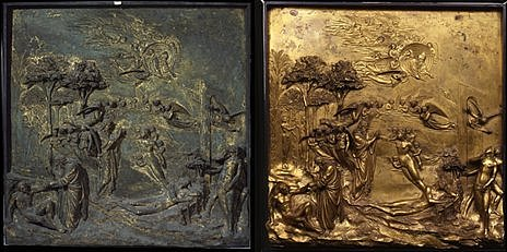 "A panel from Ghiberti's ""Gates of Paradise"", before (left) and after restoration (composite image)"