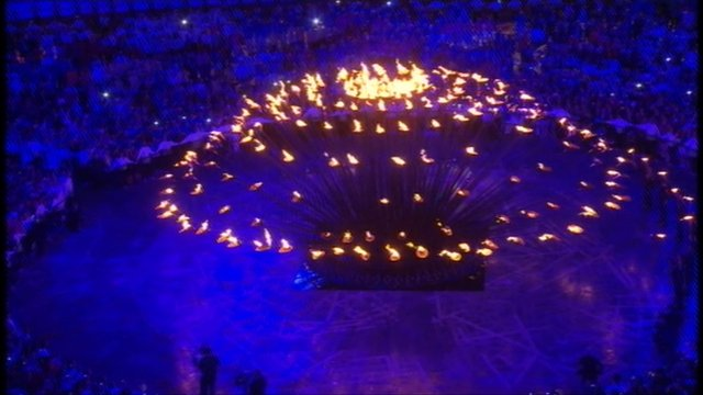 Olympic cauldron lit during the opening ceremony in London