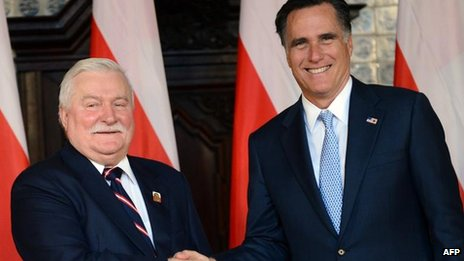 Former Polish President Lech Walesa meets US Republican presidential candidate Mitt Romney