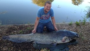 Angler James Jones, 31, of Southminster and his wels Catfish