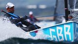 Ben Ainslien in action on day two of Finn racing in Weymouth