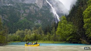 Generic shot of rafting on a river in British Columbia