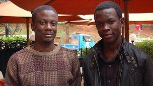 Joseph Kaizzi (left) and Aaron Tsushabe