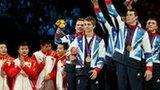 Britain's men celebrate bronze medal in gymnastics