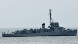 Philippine navy ship BRP Rajah Humabon leaves Subic Bay, the former US navy base, near the south China sea