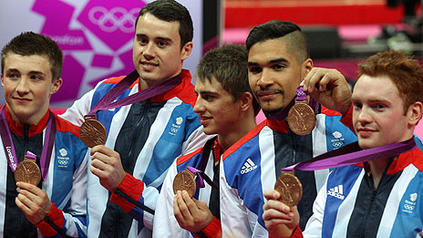 GB's men's gymnasts celebrate winning brone