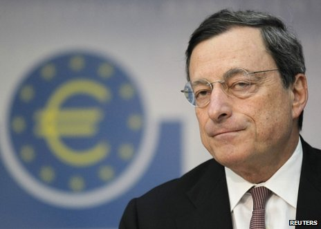 Mario Draghi addressing reporters at the ECB headquarters in Frankfurt, 9 July 
